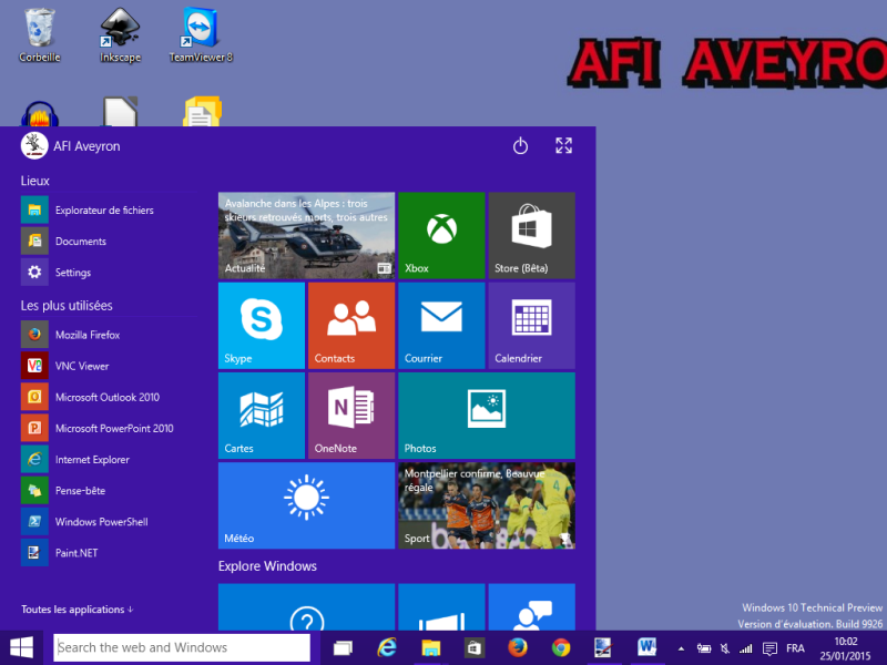 Un aperçu de Windows 10 en version Technical Preview